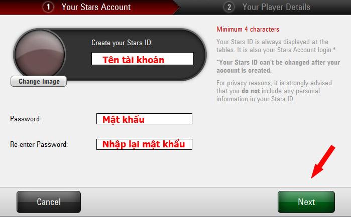 đăng ký thông tin tài khoản pokerstars