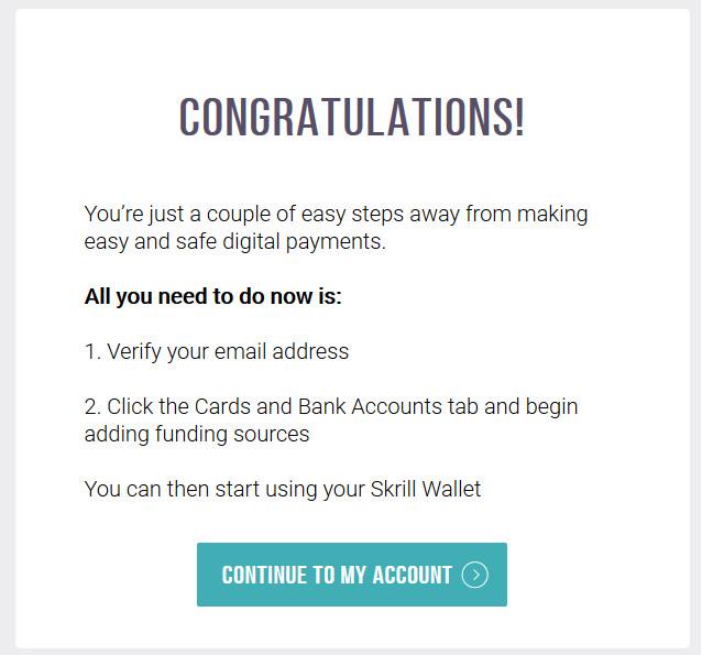 Hoàn tất đăng ký ví điện tử Skrill