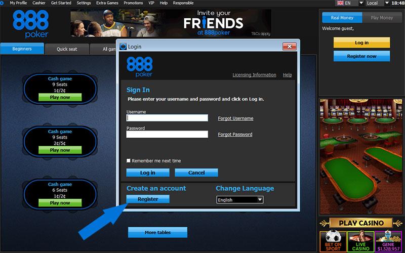 Đăng ký tài khoản chơi poker online tại 888poker