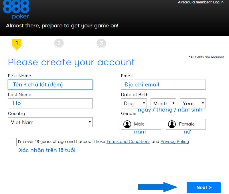 Điền thông tin yêu cầu để tạo tài khoản 888poker