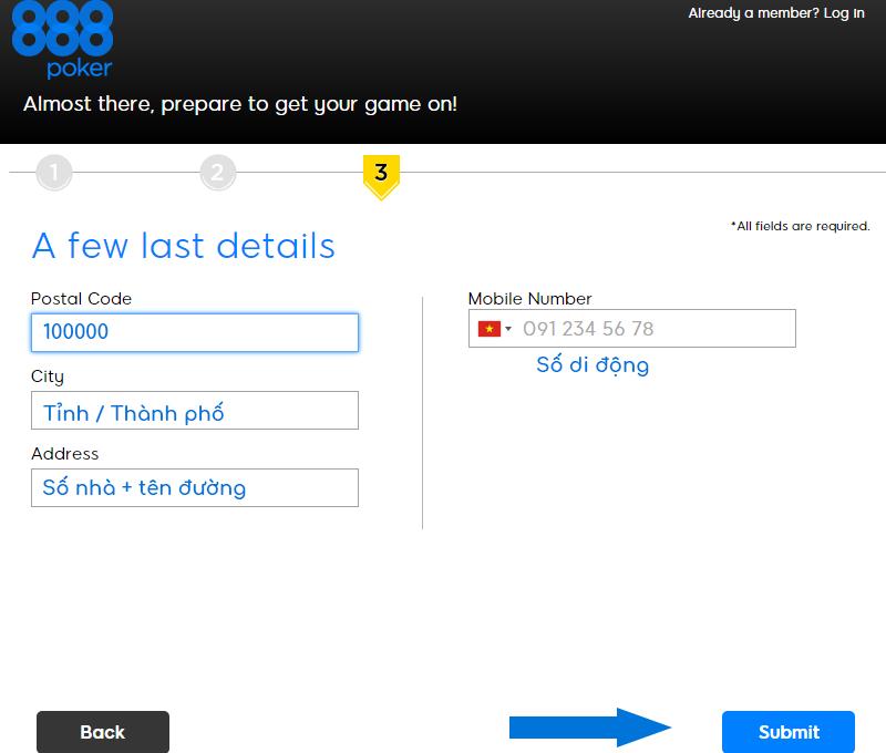 Đăng ký thông tin liên hệ cho tài khoản 888poker