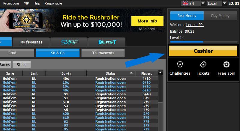 Vào mục Cashier trên 888poker để nạp tiền