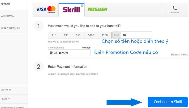 Nạp tiền vào 888poker bằng Skrill hoặc Neteller