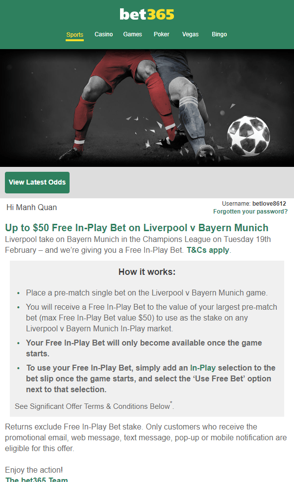 bet365 offers 50$ Free Bet Credit - Some kind of easy bonus